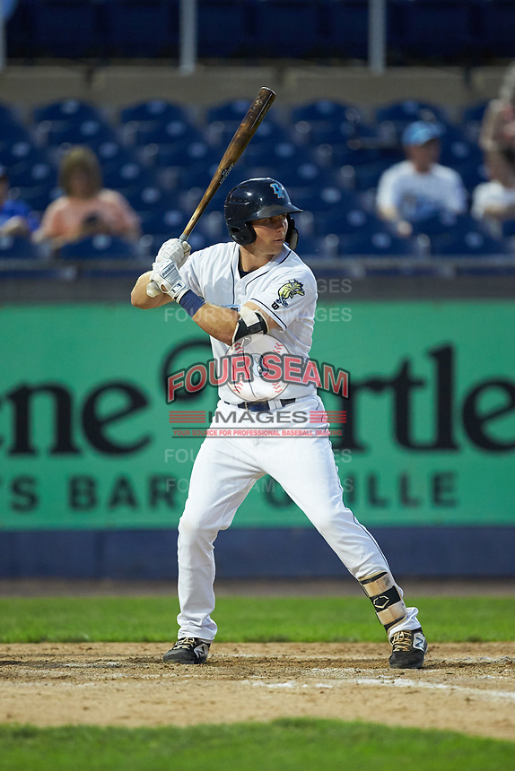 Brewer Hicklen (8) of the Wilmington Blue Rocks at bat against the Fayetteville Woodpeckers at Frawley Stadium on June 6, 2019 in Wilmington, Delaware. The Woodpeckers defeated the Blue Rocks 8-1. (Brian Westerholt/Four Seam Images)