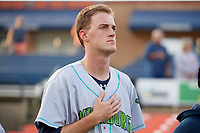 Lynchburg Hillcats starting pitcher Micah Miniard (31) during the national anthem before the second game of a doubleheader against the Frederick Keys on June 12, 2018 at Nymeo Field at Harry Grove Stadium in Frederick, Maryland.  Frederick defeated Lynchburg 8-1.  (Mike Janes/Four Seam Images)
