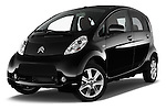 Stock pictures of low aggressive front three quarter view of 2016 Citroen C-Zero Confort 5 Door Micro Car Low Aggressive
