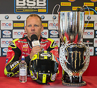 Shane Byrne of the Be Wiser Ducati team (No. 67) during the press conference after his second win of the day after victory in Race Two at the 2017 BSB Round 6 - Brands Hatch GP Circuit at Brands Hatch, Longfield, England on Sunday 23 July 2017. Photo by David Horn/PRiME Media Images