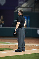 Home plate umpire Dylan Bradley during the game between the Jersey Shore BlueClaws and the Winston-Salem Warthogs at Truist Stadium on July 21, 2021 in Winston-Salem, North Carolina. (Brian Westerholt/Four Seam Images)
