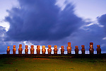 Moais of Ahu Tongariki at night on Easter Island, Chile.