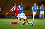 St Johnstone v Aberdeen.....30.01.13      SPL.Joseph Shaughnessy tackles Nigel Hasselbaink.Picture by Graeme Hart..Copyright Perthshire Picture Agency.Tel: 01738 623350  Mobile: 07990 594431
