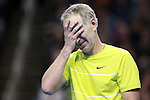 USA's John McEnroe reacts after missing a point during the HSBC Tennis Cup series at First Niagara Center in Buffalo, NY on October 22, 2011