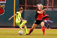Rochester, NY - Saturday July 09, 2016: Seattle Reign FC forward Nahomi Kawasumi (36), Western New York Flash defender Abigail Dahlkemper (13) during a regular season National Women's Soccer League (NWSL) match between the Western New York Flash and the Seattle Reign FC at Frontier Field.