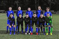 team KRC Genk ( Sterre Gielen (14) , Gwen Duijsters (13) , Lorene Martin (6) , Hanne Merkelbach (25) , Lotte Van Den Steen (15) and Sien Vandersanden (10) , Silke Sneyers (2) , Fleur Pauwels (66) , Emily Steijvers (33) , Luna Vanhoudt (43) , goalkeeper Joséphine Delvaux (1) ) pictured before a female soccer game between  Racing Genk Ladies and Eendracht Aalst on the 15 th matchday of the 2020 - 2021 season of Belgian Scooore Womens Super League , friday 5 th of March 2021  in Genk , Belgium . PHOTO SPORTPIX.BE   SPP   STIJN AUDOOREN