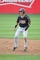 Javier Guerra (12) of the Lake Elsinore Storm leads off of second base during a game against the Rancho Cucamonga Quakes at LoanMart Field on April 10, 2016 in Rancho Cucamonga, California. Lake Elsinore defeated Rancho Cucamonga, 7-6. (Larry Goren/Four Seam Images)