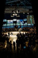 """16 gnnaio 2013 Roberto Maroni, Lega Nord, inizia la campagna elettorale a Villa Erba di Cernobbio con lo slogan """"Dillo a Maroni"""""""