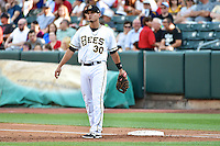 Roberto Lopez (30) of the Salt Lake Bees during the game against the Reno Aces in Pacific Coast League action at Smith's Ballpark on July 24, 2014 in Salt Lake City, Utah.  (Stephen Smith/Four Seam Images)