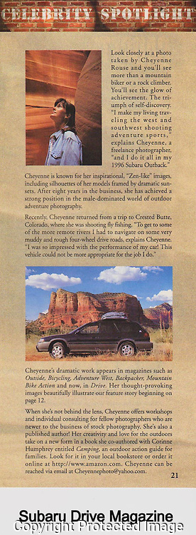 """Celebrity"" Spotlight for Subaru Drive Magazine"