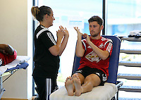Pictured: Ben Davies is being examined by one of the squad physiotherapists. Wednesday 02 July 2014<br /> Re: Pre-season testing during the first day of training for Swansea City FC players at the Landore training ground.