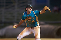 Mooresville Spinners relief pitcher Tyler White (16) (Tusculum College) in action against the Dry Pond Blue Sox at Moor Park on July 2, 2020 in Mooresville, NC.  The Spinners defeated the Blue Sox 9-4. (Brian Westerholt/Four Seam Images)