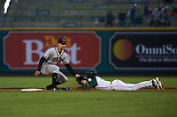 Quad Cities River Bandits Trey Dawson (3) covers second base on a stolen base attempt by Dwanya Williams-Sutton (11) during a Midwest League game against the Fort Wayne TinCaps at Parkview Field on May 3, 2019 in Fort Wayne, Indiana. Quad Cities defeated Fort Wayne 4-3. (Zachary Lucy/Four Seam Images)