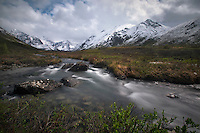 The South Fork of the Eagle River drains Eagle and Symphony Lakes in the Chugach Mountains above Eagle River, Alaska.