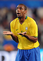 Maicon of Brazil appeals. Brazil defeated USA 3-0 during the FIFA Confederations Cup at Loftus Versfeld Stadium in Tshwane/Pretoria, South Africa on June 18, 2009.