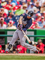 22 June 2014: Atlanta Braves outfielder Jordan Schafer in action against the Washington Nationals at Nationals Park in Washington, DC. The Nationals defeated the Braves 4-1 to split their 4-game series and take sole possession of first place in the NL East. Mandatory Credit: Ed Wolfstein Photo *** RAW (NEF) Image File Available ***