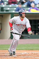 April 30th 2008:  Dusty Brown (15) of the Pawtucket Red Sox, Class-AAA affiliate of the Boston Red Sox, at bat during a game at Frontier Field  in Rochester, NY.  Photo by Mike Janes/Four Seam Images