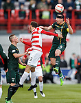 Celtic captain Scott Brown wins the ball from Tony Andreu