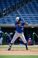 Toronto Blue Jays Steward Berroa (17) at bat during an Instructional League game against the Philadelphia Phillies on September 23, 2019 at Spectrum Field in Clearwater, Florida.  (Mike Janes/Four Seam Images)