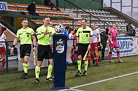 referee Niels Bossuyt  pictured entering the pitch with his assistant referees Sam Decroo and Tim Rasschaert during a female soccer game between SV Zulte - Waregem and Sporting Charleroi on the eleventh matchday of the 2020 - 2021 season of Belgian Scooore Womens Super League , saturday 23 th of January 2021  in Zulte , Belgium . PHOTO SPORTPIX.BE | SPP | DIRK VUYLSTEKE