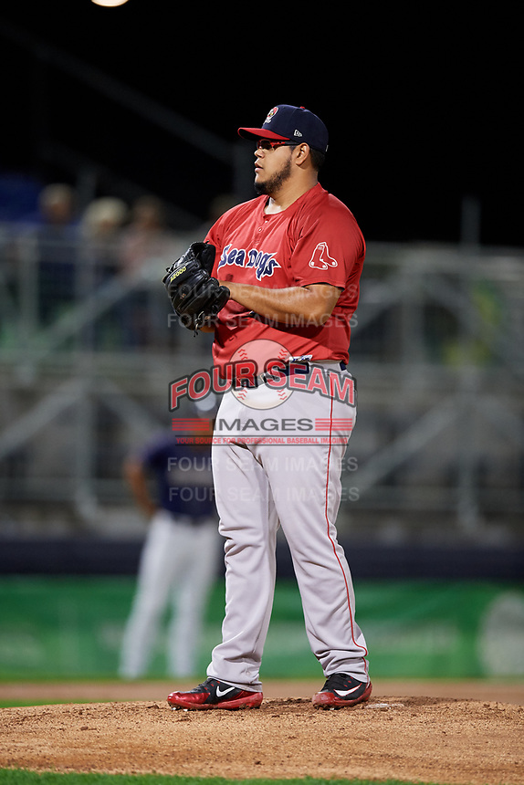 Portland Sea Dogs starting pitcher Dedgar Jimenez (47) gets ready to deliver a pitch during a game against the Binghamton Rumble Ponies on August 31, 2018 at NYSEG Stadium in Binghamton, New York.  Portland defeated Binghamton 4-1.  (Mike Janes/Four Seam Images)