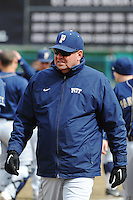 Pittsburgh Panthers head coach Joe Jordano (45) during game against the St. John's Redstorm at Jack Kaiser Stadium on March 22, 2013 in Queens, New York.  Pittsburgh defeated St. John's 12-9.  (Tomasso DeRosa/Four Seam Images)