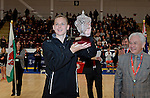 New Zealand's Katrina Grant (Capt) with the Trophy <br /> <br /> Swansea University International Netball Test Series: Wales v New Zealand<br /> Ice Arena Wales<br /> 08.02.17<br /> ©Ian Cook - Sportingwales