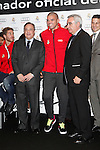 Real Madrid player Pepe (c) and the President Florentino Perez participate and receive new Audi during the presentation of Real Madrid's new cars made by Audi at the Jarama racetrack on November 8, 2012 in Madrid, Spain.(ALTERPHOTOS/Harry S. Stamper)