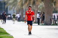 26th March 2021; Sakhir, Bahrain; F1 Grand Prix of Bahrain, Free Practice sessions;  LECLERC Charles (mco), Scuderia Ferrari SF21 arrives trackside during Formula 1 Gulf Air Bahrain Grand Prix 2021