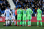 CD Leganes's players and Levante UD's players have words with the referee during La Liga match between CD Leganes and Levante UD at Butarque Stadium in Leganes, Spain. March 04, 2019. (ALTERPHOTOS/A. Perez Meca)