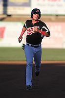 Alex Burg (4) of the High Desert Mavericks runs the bases during a game against the San Jose Giants at Mavericks Stadium on June 14, 2015 in Adelanto, California. High Desert defeated San Jose, 7-5. (Larry Goren/Four Seam Images)