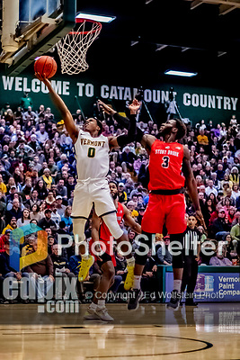 8 January 2020: University of Vermont Catamount Guard Stef Smith, a Junior from Ajax, Ontario, in first half action against the Stony Brook University Seawolves at Patrick Gymnasium in Burlington, Vermont. The Seawolves defeated the Catamounts 81-77 in a closely fought game. Mandatory Credit: Ed Wolfstein Photo *** RAW (NEF) Image File Available ***8 January 2020: University of Vermont Catamount Guard Stef Smith, a Junior from Ajax, Ontario, lays one up in first half action against the Stony Brook University Seawolves at Patrick Gymnasium in Burlington, Vermont. The Seawolves defeated the Catamounts 81-77 in a closely fought game. Mandatory Credit: Ed Wolfstein Photo *** RAW (NEF) Image File Available ***