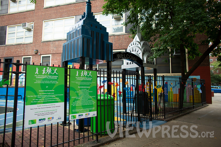 NEW YORK, NEW YORK - SEPTEMBER 2: Exterior view of a public school on September 2, 2020 in Manhattan New York.  N.Y.C. School reopening plan continues amid COVID-19  (Photo by Kena Betancur/VIEWpress via GettyImages)