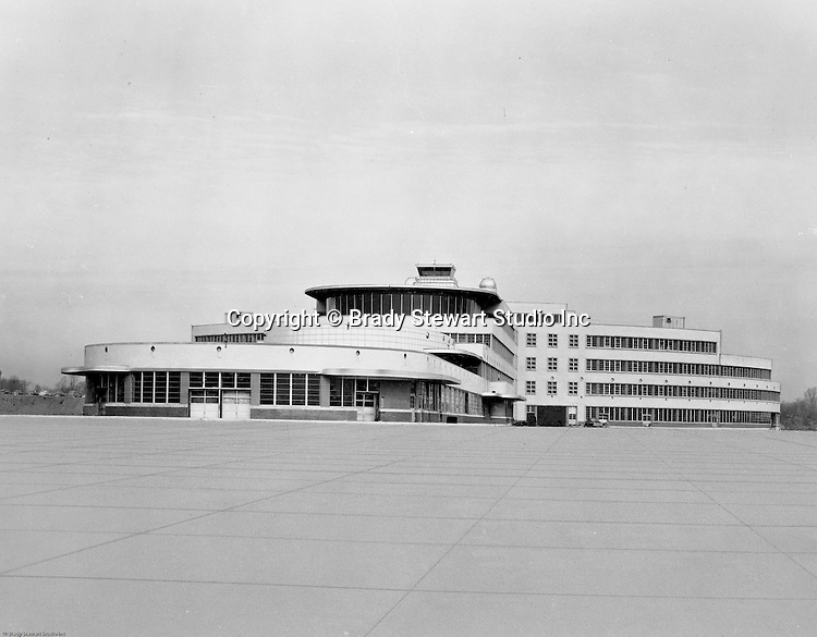 Pittsburgh PA: View of the gates and terminal at the Greater Pittsburgh Airport. In 1944, Allegheny County officials proposed to expand the military airport with the addition of a commercial passenger terminal in order to relieve the Allegheny County Airport, which was built in 1926 and whose capacity was quickly becoming insufficient to support the growing demand for air travel.  The new airport, christened as Greater Pittsburgh Airport opened on May 31, 1952. The first flight occurred on June 3, 1952.