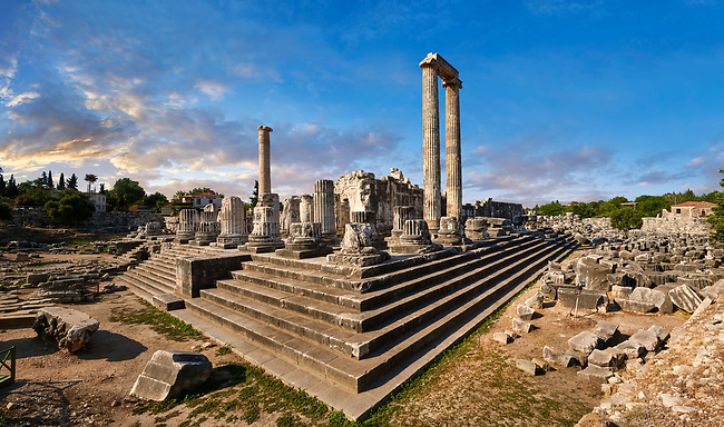 Picture of the ruins of the Ancient Ionian Greek  Didyma Temple of Apollo & home to the Oracle of Apollo.  Also known as the Didymaion completed circa 550 BC. modern Didim in Aydin Province, Turkey.