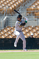 Mesa Solar Sox center fielder Luis Barrera (7), of the Oakland Athletics organization, at bat during an Arizona Fall League game against the Glendale Desert Dogs at Camelback Ranch on October 15, 2018 in Glendale, Arizona. Mesa defeated Glendale 8-0. (Zachary Lucy/Four Seam Images)