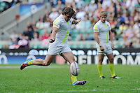 Dan Bibby of England takes a conversion during the iRB Marriott London Sevens at Twickenham on Sunday 13th May 2012 (Photo by Rob Munro)