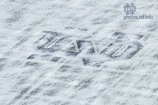 January 19, 2021; Monogram on the Notre Dame Stadium field is partially covered in a dusting of snow. (Photo by Matt Cashore/University of Notre Dame)