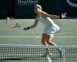 April 5,2018:   Fanny Stollar (HUN) loses to Kiki Bertens (NED) 6-2, 6-4, at the Volvo Car Open being played at Family Circle Tennis Center in Charleston, South Carolina.  ©Leslie Billman/Tennisclix/CSM