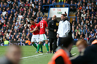 Pictured: Neil Taylor makes a return following a long injury related lay off with an apperance coming on as a substitute<br /> Barclays Premier League, Chelsea FC (blue) V Swansea City,<br /> 28/04/13