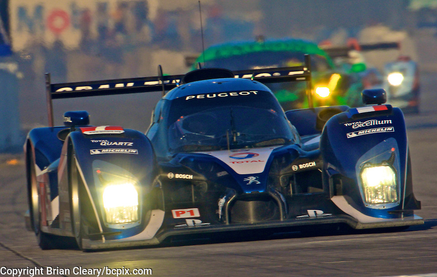 The #7 Peugeot 908 of Marc Gene, Alexander Wurz and Anthony Davidson races down the frontstretch during morning warmup before the 12 Hours of Sebring, Sebring International Raceway, Sebring, FL, March 19, 2011.  (Photo by Brian Cleary/www.bcpix.com)