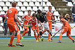 GER - Mannheim, Germany, May 25: During the U16 Boys match between The Netherlands (orange) and Germany (black) during the international witsun tournament on May 25, 2015 at Mannheimer HC in Mannheim, Germany. Final score 3-4 (1-2). (Photo by Dirk Markgraf / www.265-images.com) *** Local caption *** Finn Duetz #31 of Germany