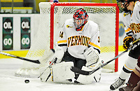 16 October 2010: University of Vermont Catamount goaltender Roxanne Douville, a Freshman from Beloeil, Quebec, in action against the Boston College Eagles at Gutterson Fieldhouse in Burlington, Vermont. The Lady Cats fell to the visiting Eagles 4-1 in the second game of their weekend series. Mandatory Credit: Ed Wolfstein Photo