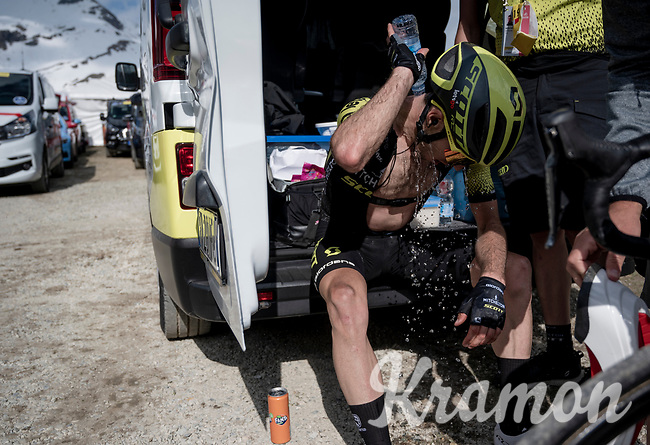 After a disappointing day Simon Yates (GBR/Mitchelton-Scott) is trying to come to grips with the fact that he isn't up were he hoped to be after after the mountaintop finish of Stage 13: Pinerolo to Ceresole Reale/Lago Serrù (196km)<br /> 102nd Giro d'Italia 2019<br /> <br /> ©kramon