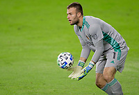 CARSON, CA - OCTOBER 28: Marko Maric  #1 of the Houston Dynamo saves a ball during a game between Houston Dynamo and Los Angeles FC at Banc of California Stadium on October 28, 2020 in Carson, California.