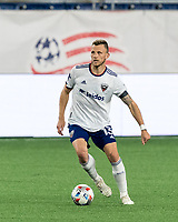 FOXBOROUGH, MA - APRIL 24: Frederic Brillant #13 of D.C. United looks to pass during a game between D.C. United and New England Revolution at Gillette Stadium on April 24, 2021 in Foxborough, Massachusetts.