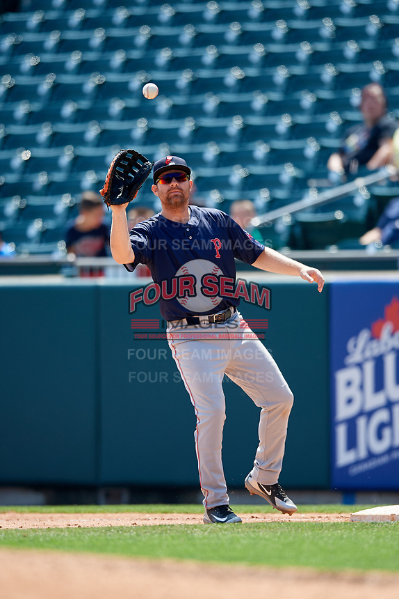 Pawtucket Red Sox first baseman Adam Lind (30) waits to receive a throw during a game against the Buffalo Bisons on June 28, 2018 at Coca-Cola Field in Buffalo, New York.  Buffalo defeated Pawtucket 8-1.  (Mike Janes/Four Seam Images)