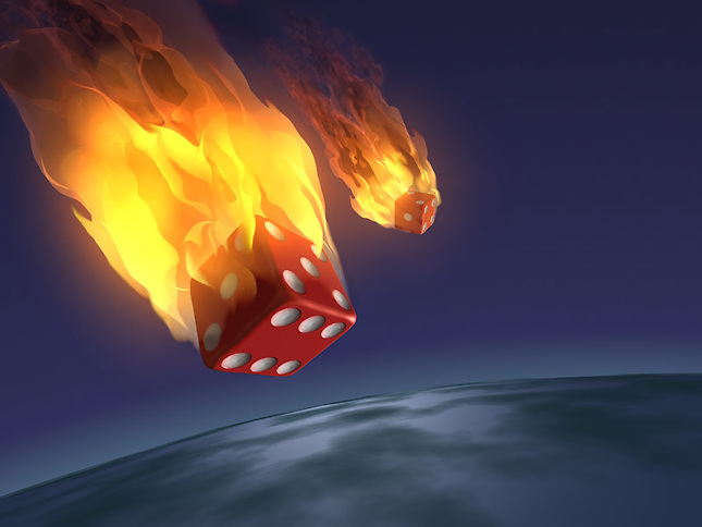 Flaming dice falling to earth