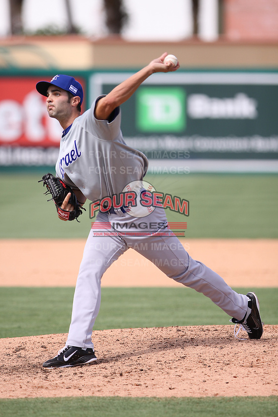 Richard Bleier of Team Israel delivers a pitch to the plate against Team Spain during the World Baseball Classic preliminary round at Roger Dean Stadium on September 21, 2012 in Jupiter, Florida. Team Israel defeated Team Spain 4-2. (Stacy Jo Grant/Four Seam Images)