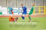 Kerry's Ronan Teahan's effort gathered by Limerick's keeper Rueben Egan as his team mate Garret Grand looks on in the EA Sports U17 League of Ireland soccer game